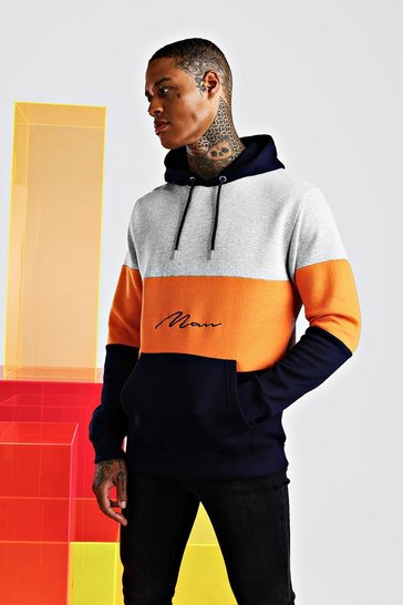Orange Man Signature Colour Block Hoodie