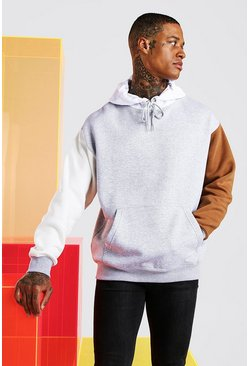 Oversized Multi Colour Block Hoodie, Tobacco