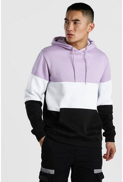 Lilac Colour Block Hoodie