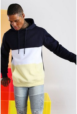 Yellow Colour Block Hoodie