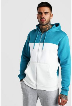 Sweat à capuche zippé colorblock, Bleu