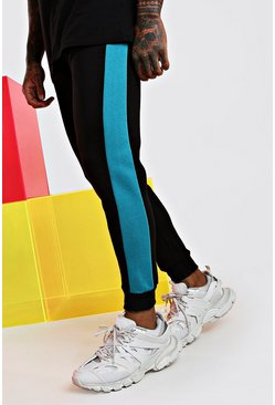 Skinny Fit Jogger With Side Panel, Blue