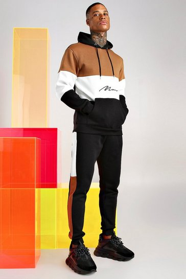 Tobacco Man Signature Colour Block Hooded Tracksuit
