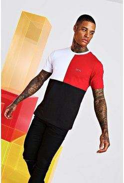 Original MAN T-Shirt mit Colorblock, Rot