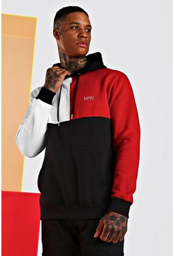 Sweat à capuche colorblock multiple Man original, Rouge