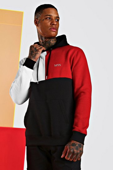 Red Original Man Multi Colour Block Hoodie