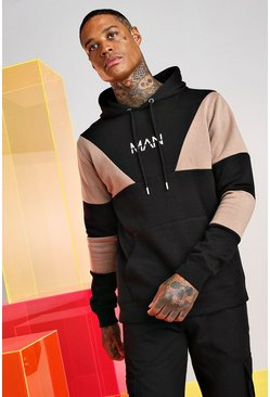 Taupe Original Man Multi Colour Block Hoodie