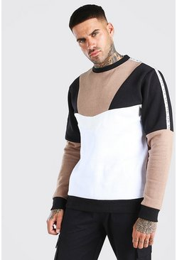 Multi Colour Block Sweat With Tape, Taupe