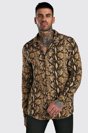 Brown Long Sleeve Viscose Animal Print Shirt