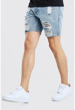 Slim Fit Heavily Distressed Denim Short, Ice blue