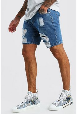 Mid blue Slim Fit Heavily Distressed Denim Shorts