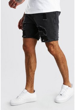 Charcoal Slim Fit Heavily Distressed Denim Short