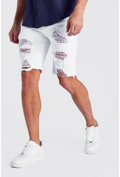 White Super Skinny All Over Rip Denim Shorts