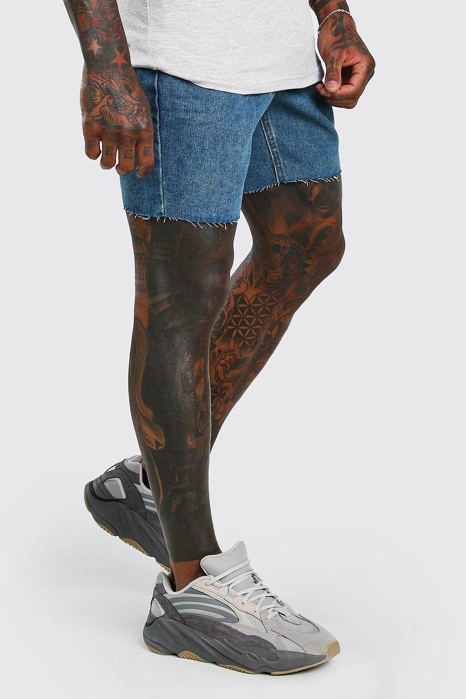 mens slim fit jean shorts with raw hem - blue