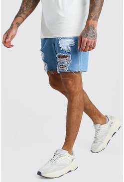 Slim Fit Denim Shorts With Raw Hem, Mid blue