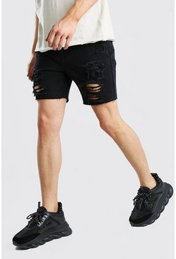 Washed black Slim Fit All Over Rip Denim Shorts