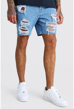 Vintage blue Slim Fit All Over Rip Denim Shorts