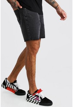 Shorts en denim coupe slim à ourlet brut, Anthracite