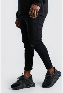 Black Big And Tall Super Skinny Ripped Knee Jeans