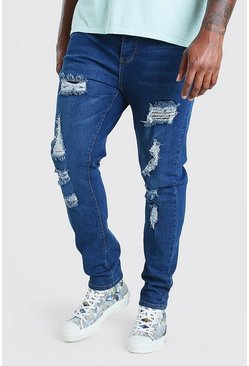 Mid blue Big & Tall Skinny Fit Jeans All Over Rips