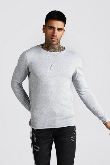 Grey Knitted Long Sleeve Crew Neck Jumper