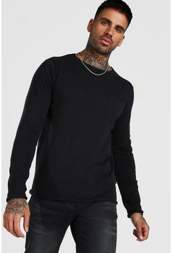 Black Knitted Long Sleeve Crew Neck Sweater