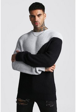 Mens Grey Asymmetric Chunky Knit Jumper
