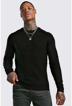 Mens Black Fisherman Knitted Jumper