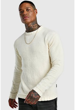 Mens Cream Chenile Chunky Knitted Jumper