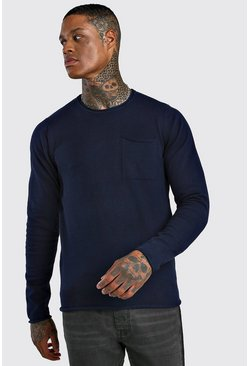 Mens Navy Crew Neck Jumper With Pocket