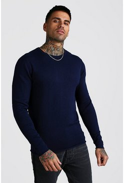 Mens Navy Knitted Long Sleeve Crew Neck Jumper