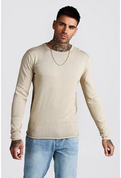Knitted Long Sleeve Crew Neck Jumper, Taupe