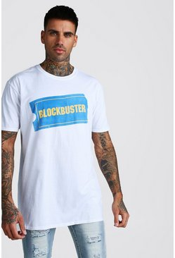 Oversized Blockbuster Retro-T-Shirt, Weiß