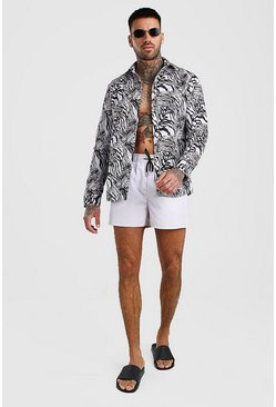 Ecru Long Sleeve Printed Shirt & Swim Short Set