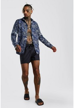 Long Sleeve Shirt & Swim Short Set In Paisley Print, Navy