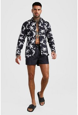 Long Sleeve Printed Shirt & Swim Short Set, Black