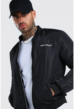 Man Official Back Print Bomber , Black