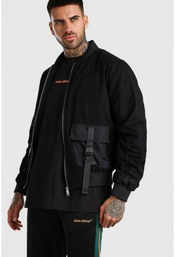 MAN Utility Buckle Padded Bomber Jacket , Black