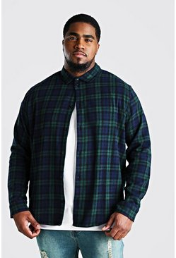 Big And Tall Long Sleeve Check Shirt , Green