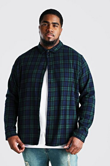 Green Big And Tall Long Sleeve Check Shirt