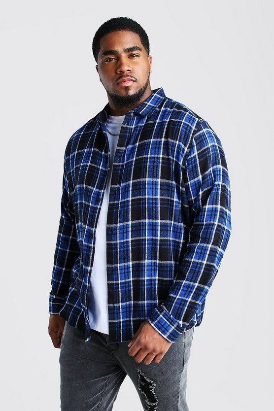 Blue Big And Tall Long Sleeve Check Shirt