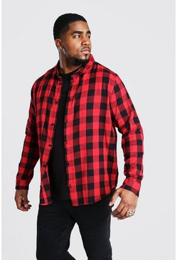 Camisa de cuadros de manga larga Big And Tall, Rojo