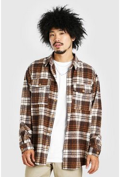 Tan Oversized Long Sleeve Brushed Check Shirt