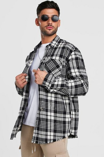 Black Super Longline Bleach Back Print Check Shirt