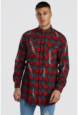 Oversized Check Shirt With Bleach Splatter , Red
