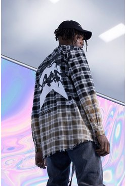 Black Super Longline Back Print Dip Dye Check Shirt