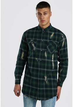 Green Super Longline Check Shirt With Bleach Splatter