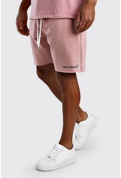 Mauve Loose Fit Man Official Raw Hem Short
