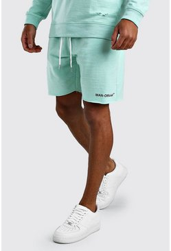 Mint MAN Official Shorts med ledig passform och rå kant