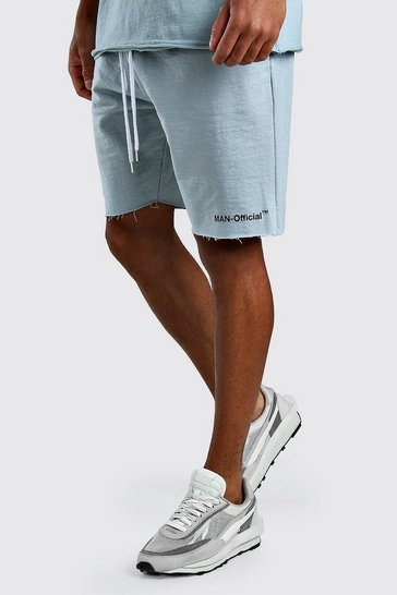Blue Loose Fit Man Official Raw Hem Short